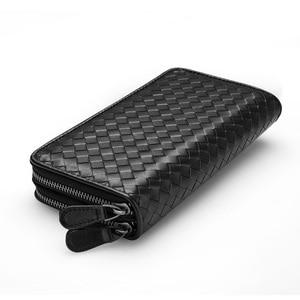 Image 3 - Luxury Soft Bag High Quality Genuine Leather Men Wallets Double Zipper Handbags Long Purse For Men  Passport Cover Card Holder