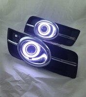 Osmrk LED DRL daytime running light COB angel eye, projector lens fog lamp with cover and chrome for chevrolet cruze, 2 pcs