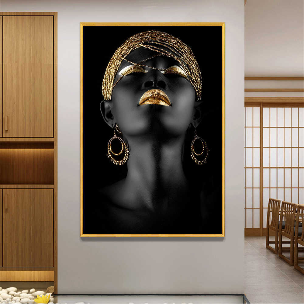Black and Gold Girls Poster Women Wall Painting Looking to Explore African Art Pictures Home Decoration Canvas Prints