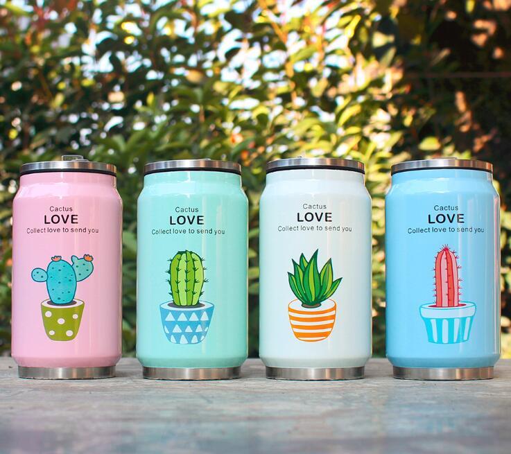 Cute planta patrón paja termo taza Acero inoxidable vacío frascos botella térmica niño latas taza termotaza 300 ml