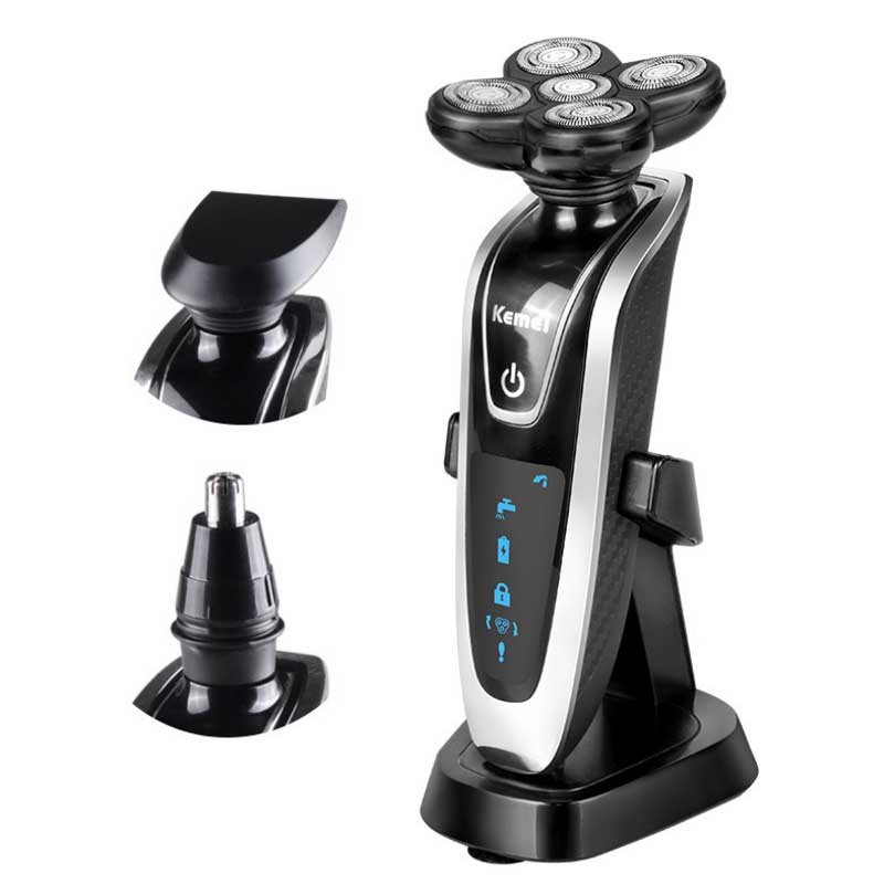 New 3 in1 Electric Shavers 5D Floating Heads Washable Beard Body Use with Nose Trimmer Safety Professional Razor for Man new brand kemei km a588 electric shavers razor blades travel use safety professional shaver for man maquina de afeitar electrica