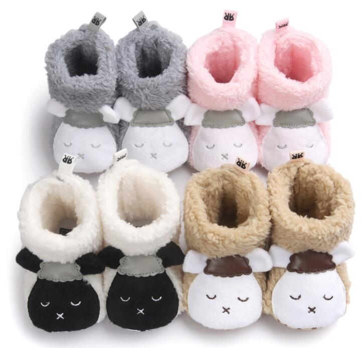 Winter Cute sheep design Baby Boots first walker Fleece Warm Cotton Shoes soft sole Infant Toddler baby floor socks