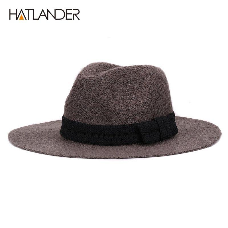Clásico estilo panamá hombre de ganchillo sombrero negro sol lana ...