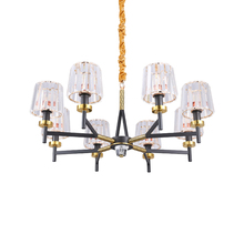 Full copper Post Modern LED pendant lights lamp 6/8/15 heads crystal lampshade light hotel dinning room hall home decotation