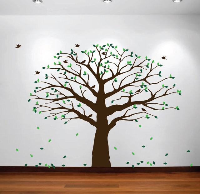 Large Wall Nursery Family Tree Decal Photo Branches Falling Leaves With Birds Wall Poster Removable Art Carving Tree Decal Y-929