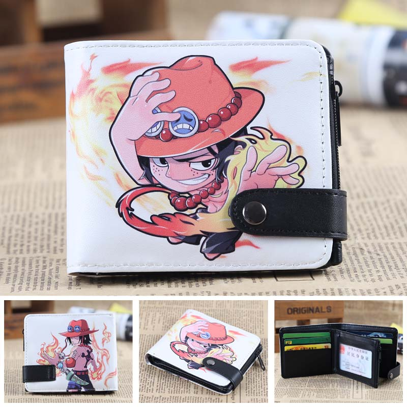 Anime One Piece Chibi Ace PU Short Zero Wallet/Coin Purse/Multilayer Double-button Wallet anime game super mario synthetic leather short exquisite wallet button purse free shipping