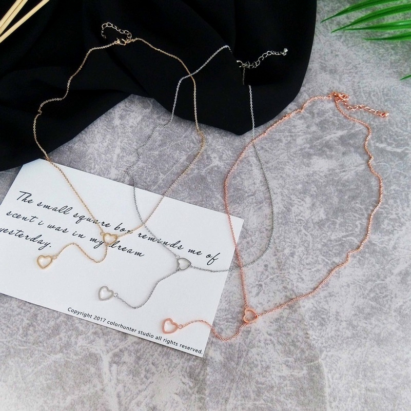 Rose Gold Color Hollow Heart Fashion Long Chain Sexy Pendant Necklace for Women Imitation Rhodium Plated Star S Necklaces ...