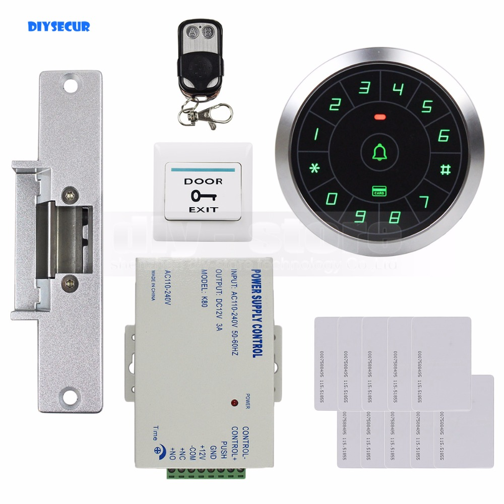 DIYSECUR Access Control System 8000 Users 125KHz RFID Reader Password Keypad + Electric Strike Lock Door Lock Security Kit diysecur touch panel rfid reader password keypad door access control security system kit 180kg 350lb magnetic lock 8000 users