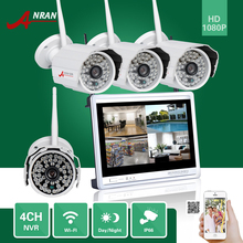 "ANRAN CCTV P2P 4CH WIFI NVR 12""LCD Monitor 48 IR Outside Bullet 1080P IP Wi-fi Digicam Surveillance Safety System Kits"