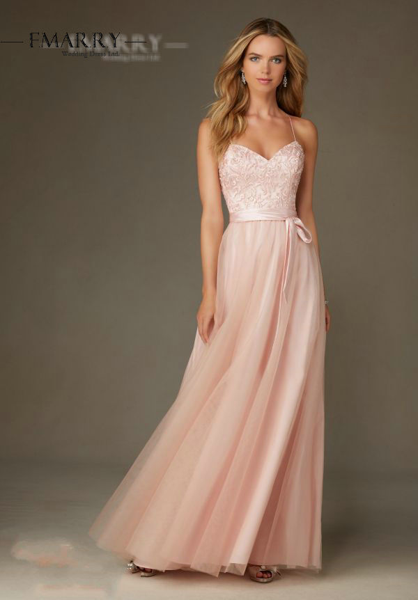 Sz477 elegant light pink a line tulle evening dress sexy for Light colored wedding dresses