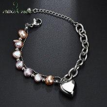 Nextvance – Bracelets à pendentif en forme de cœur, couleur argent, bijoux en perles simulées, cadeau de la saint-valentin, longueur ajustable