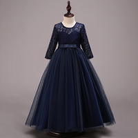 New Design Girls Party Dress Kids Long Sleeves Lace Tulle Long Maxi Party Wedding Dress Formal Kids Clothes Ball Gown