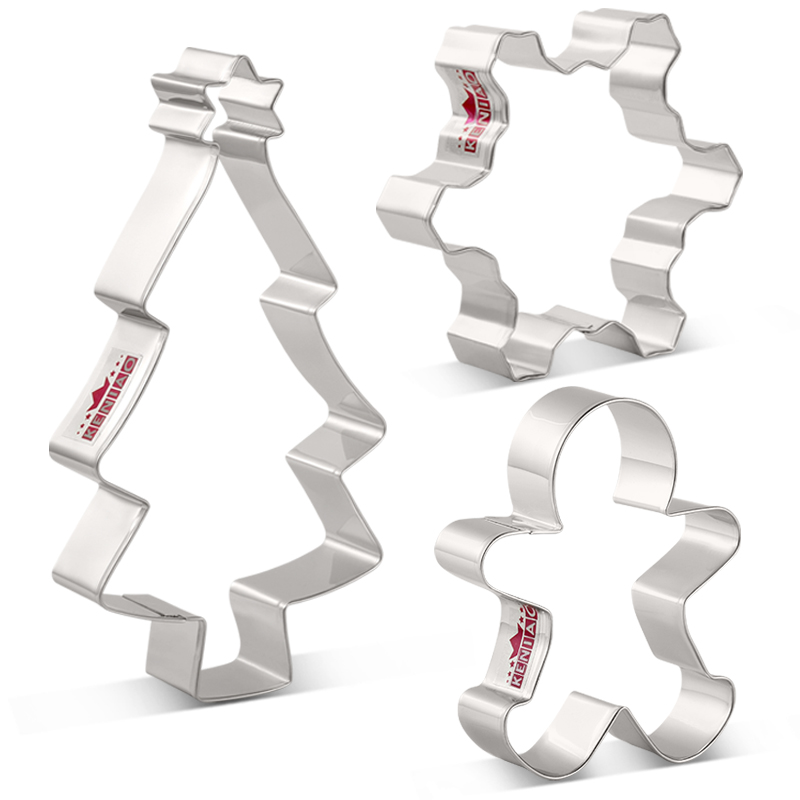 KENIAO Christmas Cookie Cutter Set - 3PC - Christmas Tree,Snowflake,Gingerbread Man Biscuit And Fondant Cutters -Stainless Steel