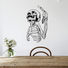 Free shipping Creative personality skeleton wall decorative painting bedroom living room PVC removable murals