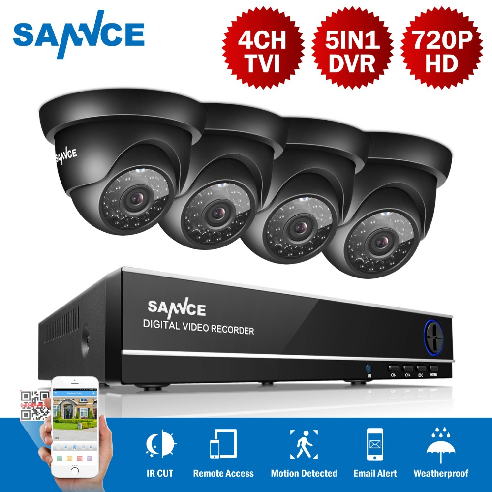 SANNCE 4CH 1080N caméra de sécurité dvr système cctv 4 pièces 720 P caméras cctv P2P Intérieur Extérieur Vidéo kit de surveillance pour La Maison