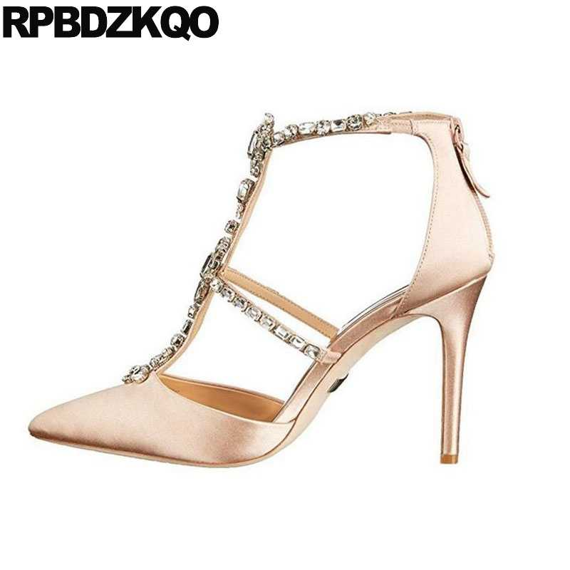 Scarpin Sexy High Heels Ladies Satin Dress Shoes White Rhinestone Women  Pumps Strap T Silk Pointed 7f45c6728cae