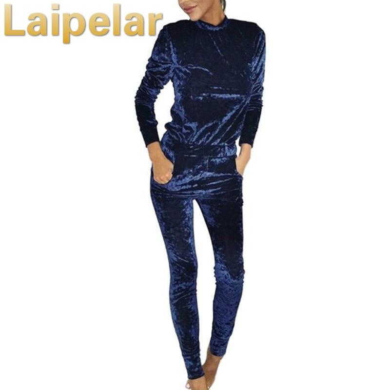 Laipelar Velvet Women Sets 2018 Fashion Long Sleeve Bodycon Slim Sweat Suit Hoodies Tracksuit Sweatshirt Two Piece Trouser Women