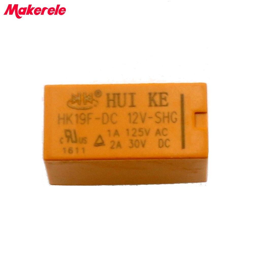 10Pcs lot For DC 12V SHG Coil DPDT 8 Pin 2NO 2NC Mini Power Relays PCB Type HUI KE MK HK19F DC 12V Free Shipping in Relays from Home Improvement