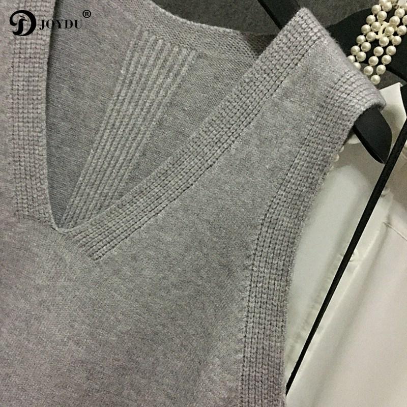 JOYDU Vest 2017 New Winter V-neck Irregular Pull Chic Vest Coat Preppy Style Sweater High Quality Waistcoats colete feminino