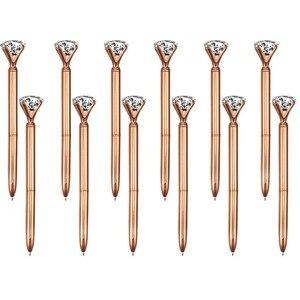 Image 2 - 500Pcs/Lot Real Metal Big Diamond Ball Point Pen High Quality Fashion Business Pen Promotion School Stationery Gift  rystal Pen