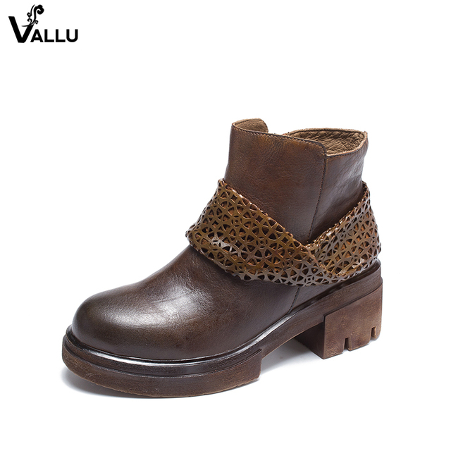 f95455a4f28 Vintage Fretwork Belt Design Women Booties Lady Block Heel Ankle Boots  Natural Leather High Quality Female