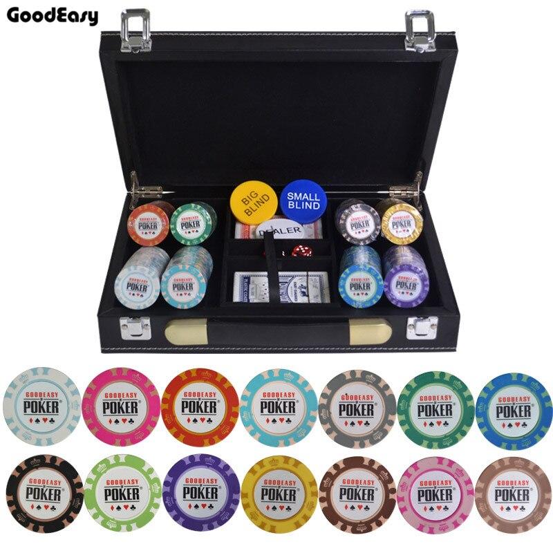 200/300/400/500 pièces/ensemble Casino couronne POKER jeu de puces Texas Hold'em Baccarat avec valise en cuir et nappe
