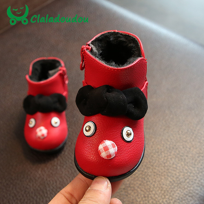 Claladoudou 11.5-13.5CM Infant Shoes Cartoon Genuine Leather Boots For Baby Girl Anti-silp Prewalker Warm Winter First Walkers