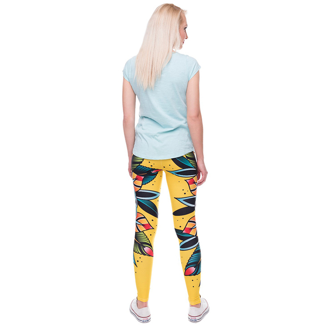 2017 Women 3D tattoo flower Leggings Women/Girls Funny Skinny Leggings Jeggings Pants Basic Casual Leggins Female Free Size Legg