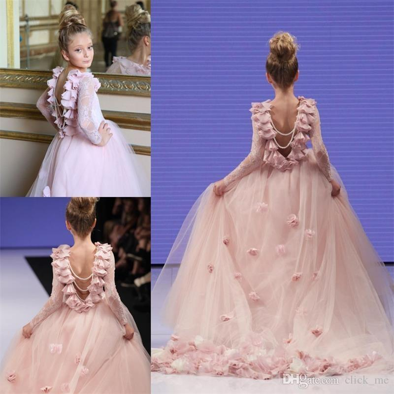 Flower Girls Princess Dress Kids Baby Party Pleated Pageant Long Sleeve Dresses