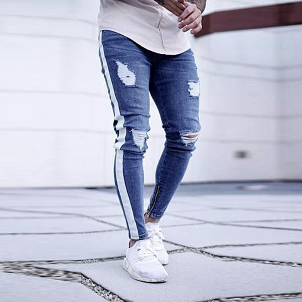 2019 Fashion Mens Hole Skinny ...