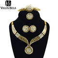 VALEN BELA Round Hollow Gold Statement Necklace Set Vintage Fashion Bridal Wedding African Earring Indian Jewelry XL1143