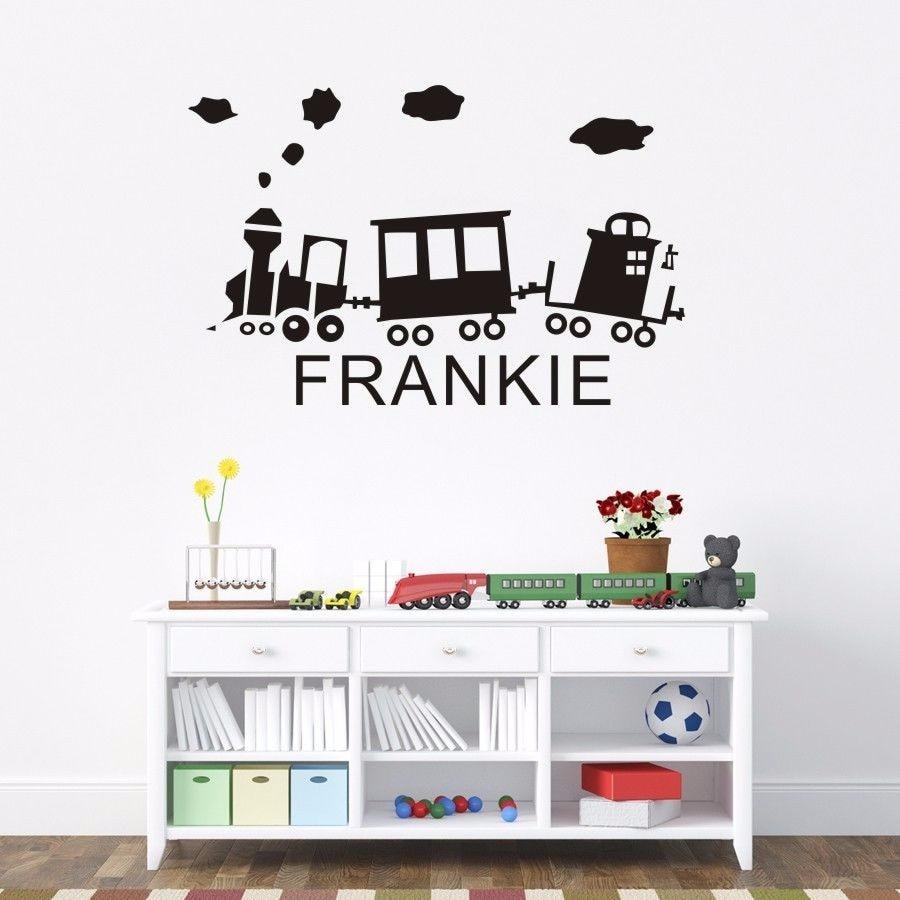 Cartoon Train Personalised Name Nursery Childrens Wall Stickers Vinyls