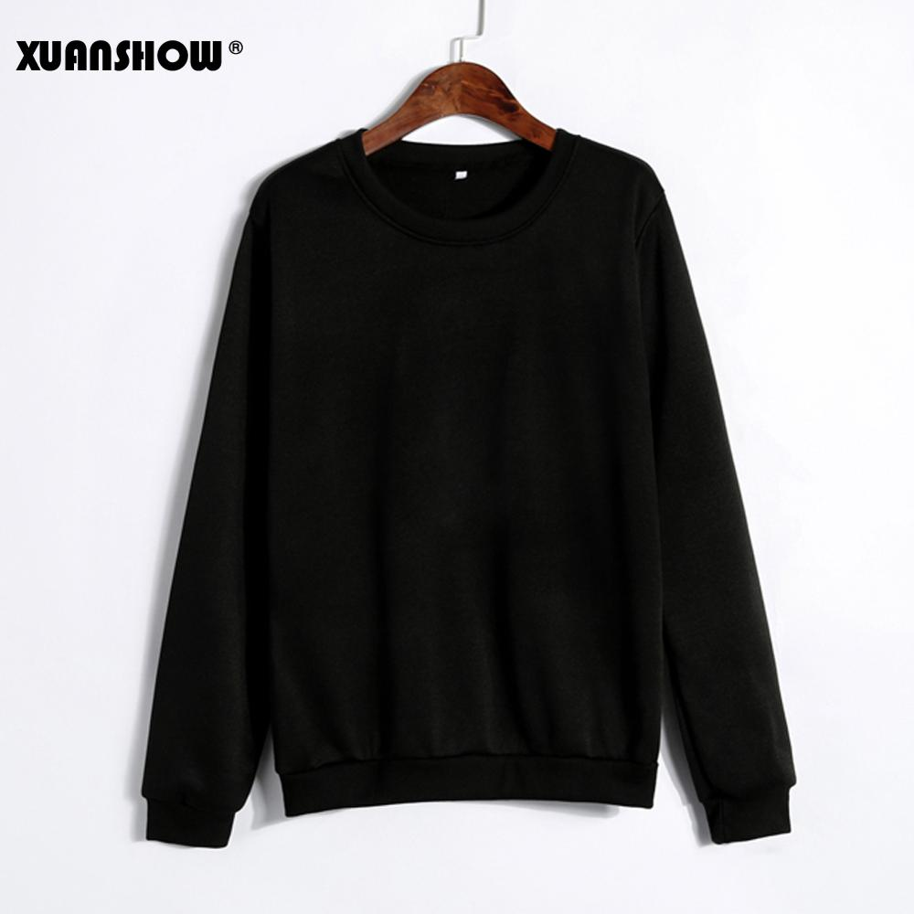 XUANSHOW Unisex Lovers Casual Clothes Long Sleeve Black White Gray Solid Color Sweatshirts For Women Men Moletom Plus Size S-5XL