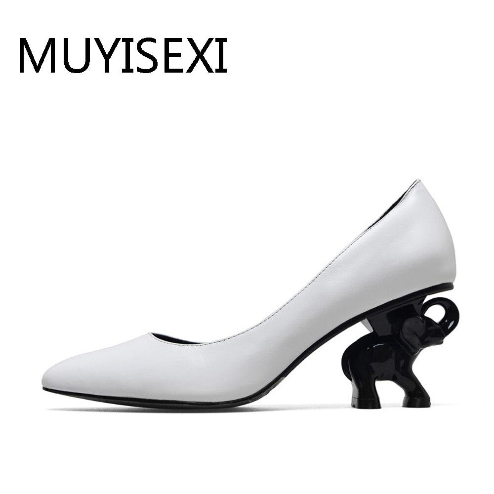Heel Women Shoes Full Genuine Leather Elephant Heel Women Shoes 6 cm High Heel Office Ladies