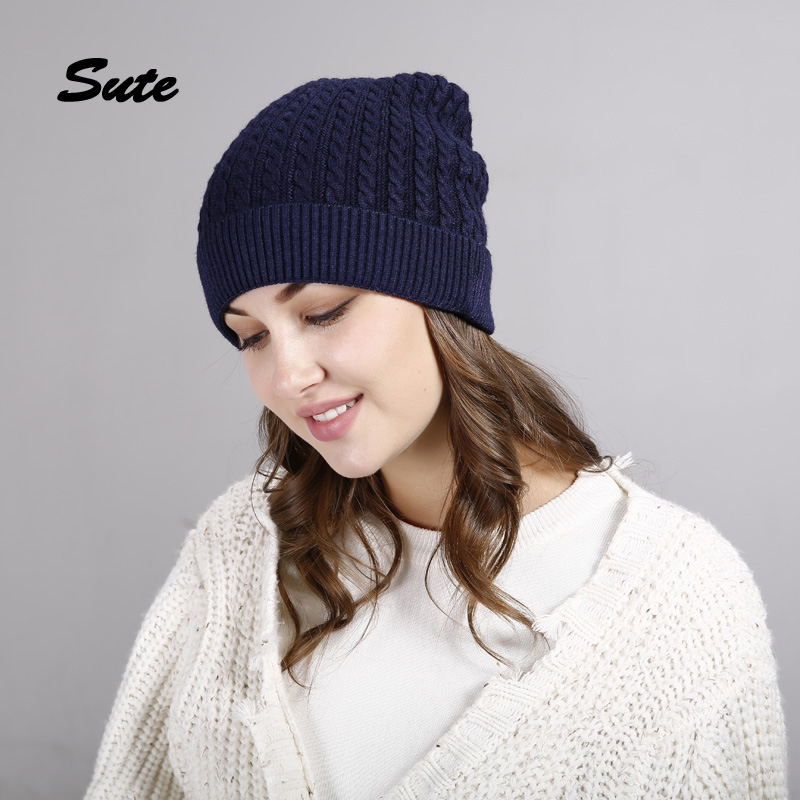 SUTE girls Winter Knitted Hats Fur Hat Cashmere Wool Skullies Cap For Women beanies cap hats brand new casual caps quality M-324 knitted skullies cap the new winter all match thickened wool hat knitted cap children cap mz081