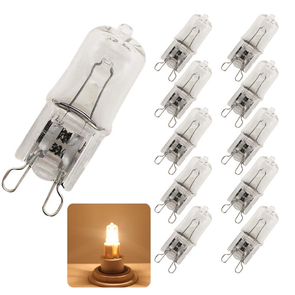 10x Super Bright G9 Halogen Light Bulb 25w 40w 60w Halogen G9 220V 3000K Warm White Indoor Clear Halogen G9 Lamp lediary 10pcs frosted halogen g9 dimmable bulb 220v 240v lamp 20w 40 60w glass halogen light g9 2700k warm white for chandeliers