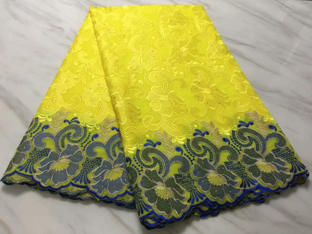 Special offer African swiss voile lace fabric cotton nigeria dry lace with stones 2019 high quality