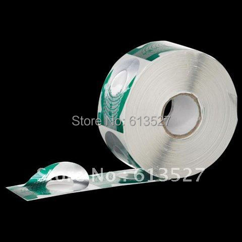 Free Shipping - 500 Pcs/Roll Green Manicure Tool Nail Art Form Guide Extension Forms