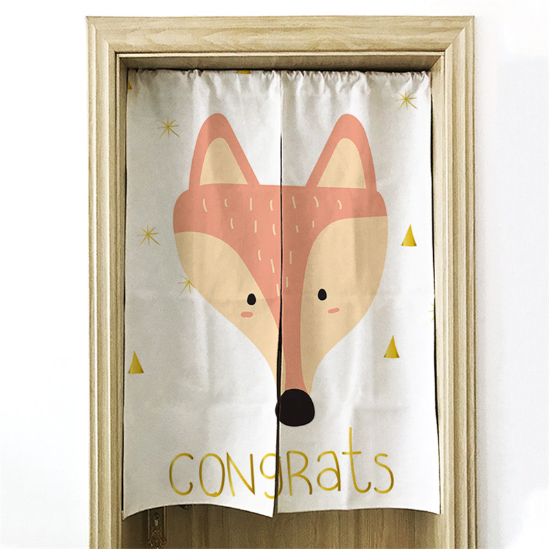 Japan Style Curtain Child Fox Kitchen Restaurant Decor