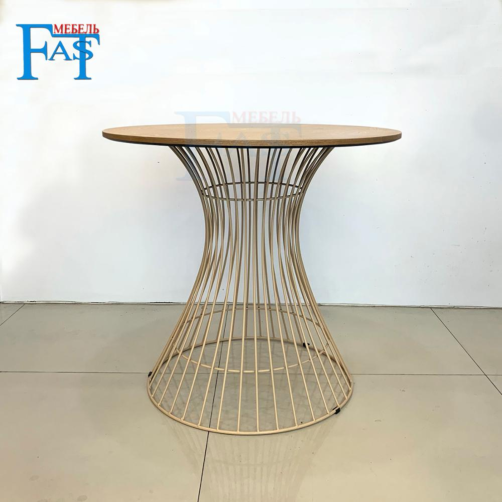 Home Dining Table New Style Wood Grain Table  On Iron Art Base Kitchen Table Round Table Modern Table