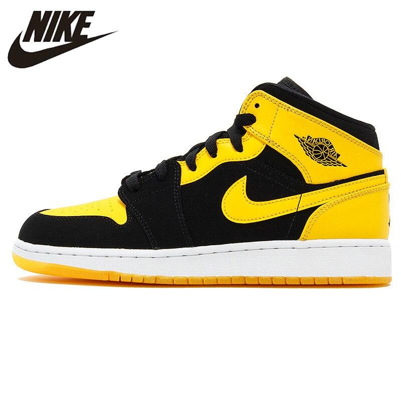 newest 2a0c4 82f48 Nike Air Jordan 1 Mid AJ1 Noir Jaune Joe basketball pour hommes Chaussures  de sport,