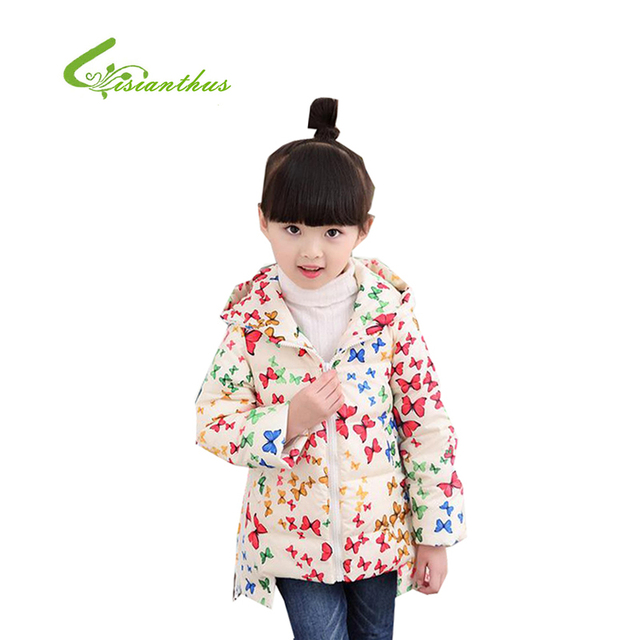 Children Large Cartoon Print Long Sleeve Thickening And Warm Down Jacket 2016 New Sale Girls Sweet And Leisure Down Jacket