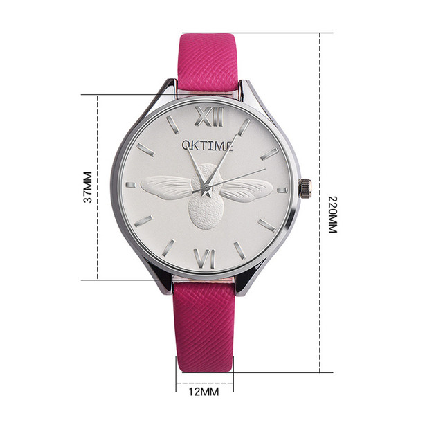 Fashion Women Bee Retro Design Leather Band Analog Alloy Quartz Wrist Watch Womens Watches Top Brand Luxury Bayan Kol Saati
