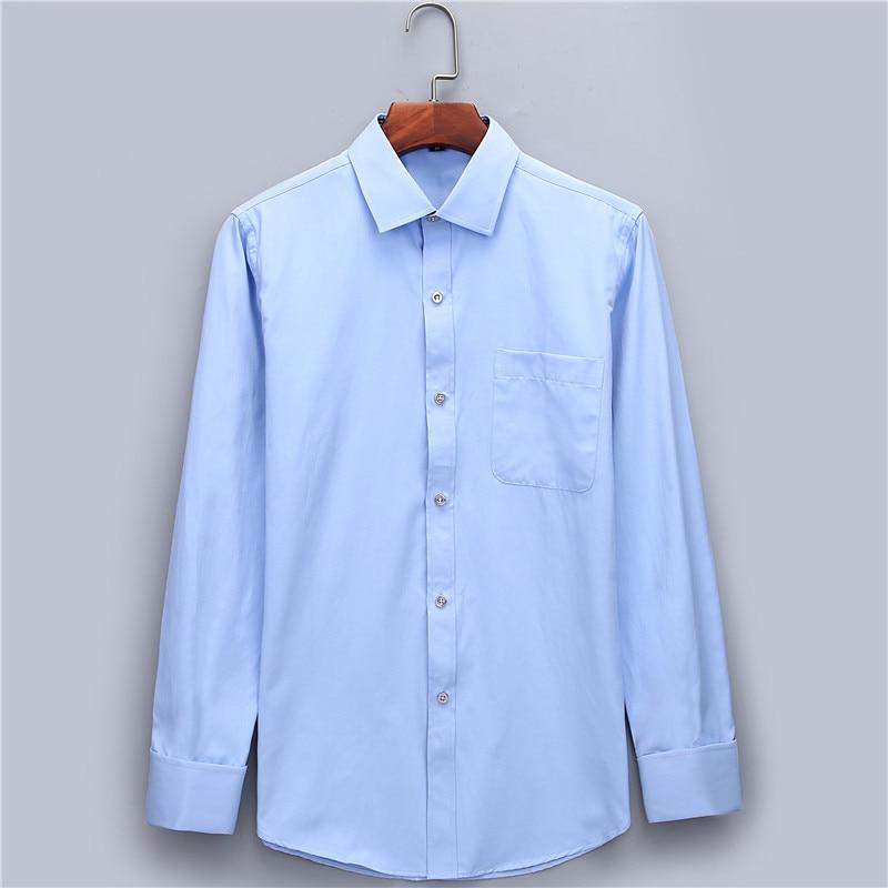 Herrklänning Skjorta Fransk Manschett Blå Vit Långärmad Business - Herrkläder - Foto 3