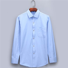 Men's Dress Shirts French Cuff Blue White Long Sleeved Business Casual Shirt Slim Fit Solid Color French Cufflinks Shirt