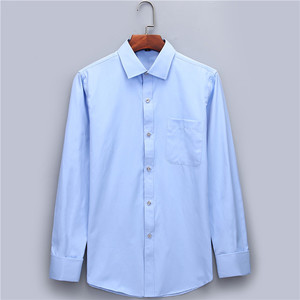 Image 3 - Mens Dress Shirts French Cuff Blue White Long Sleeved Business Casual Shirt Slim Fit Solid Color French Cufflinks Shirt