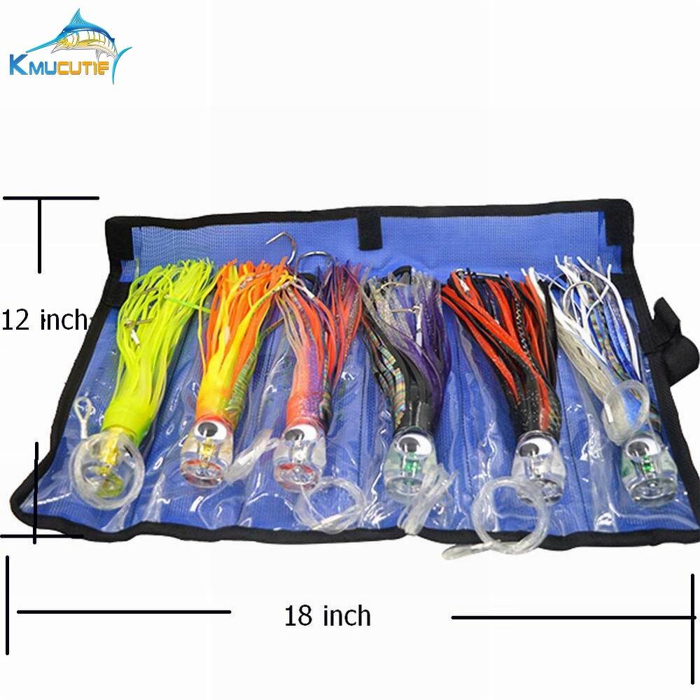 6 pièces 9 pouces Truqué Kingfish leurres avec sac en filet Marlin Pieuvre jupe Leurres Océan Bateau de Pêche À La Traîne pêche au Gros Leurres