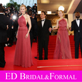 Nicole Kidman vestido at 65th Cannes Film Festival Red Carpet un hombro Tulle Coral vestido de fiesta Celebrity vestido de noche
