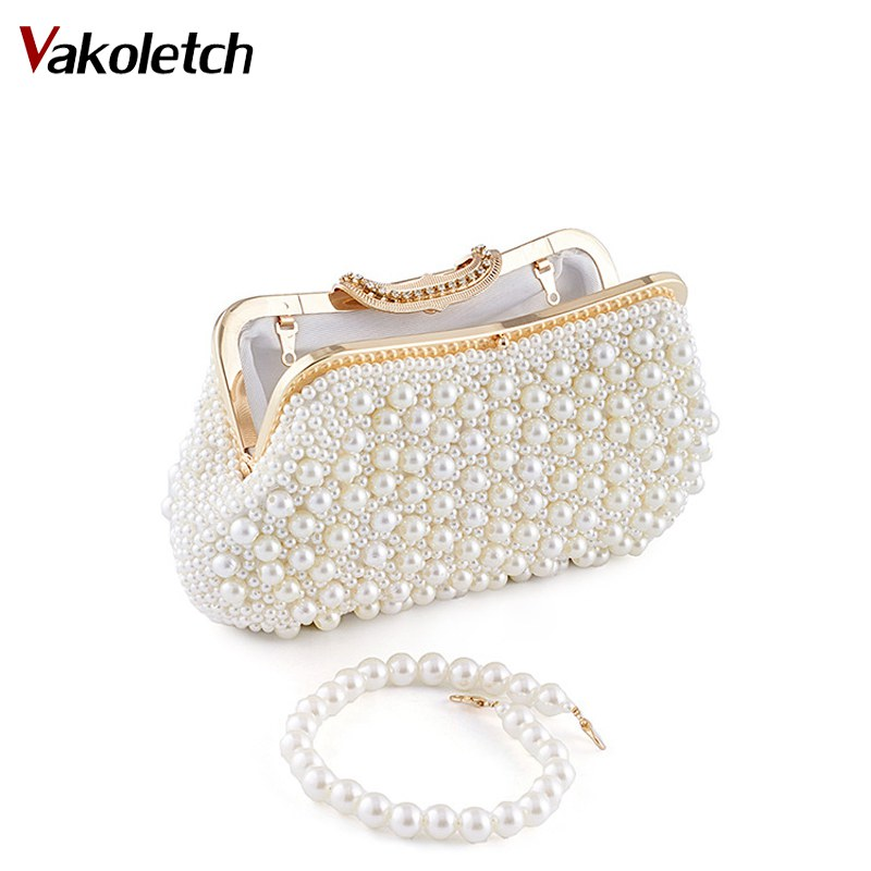 Women Messenger Beaded Women Evening Bags Imitation Pearl Shell Bag Shoulder Bags Diamonds Clutch Bag for Wedding Party K103 tentop a two sided beaded fashion exquisite beaded evening bag noble elegant pearl clutches bags shoulder party bags white pearl