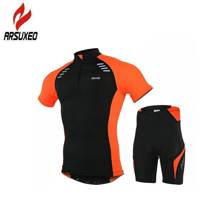 Arsuxeo лето мужчины Велоспорт Джерси установить дышащий велосипед гель площадку велосипед одежда высокого стрейч быстро сухой с коротким рукавом Спортивная одежда